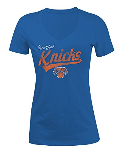 NBA New York Knicks Women's 100% Cotton Baby Jersey Short Sleeve V-Neck Tee, X-Large, Blue