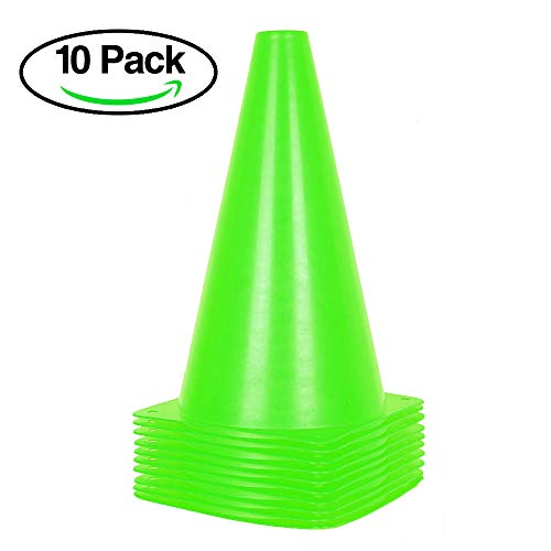 (9 inch Orange Traffic Cones - 10 Pack of Field Marker Cones for Outdoor Activity & Festive Events (Green))