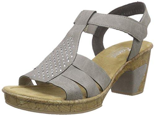 Rieker 69798 Women Open Toe - Sandalias Mujer Gris - Grau (staub / 42)