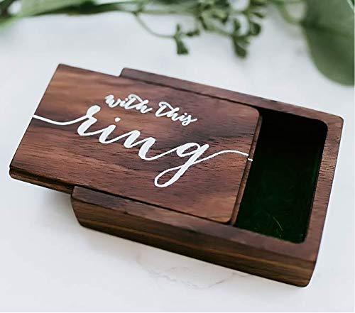 Wood Ring Box with Faux Moss Interior Engagement Ring Bearer Box Holder Rustic Ring Holder Custom Modern Wedding Rings Box