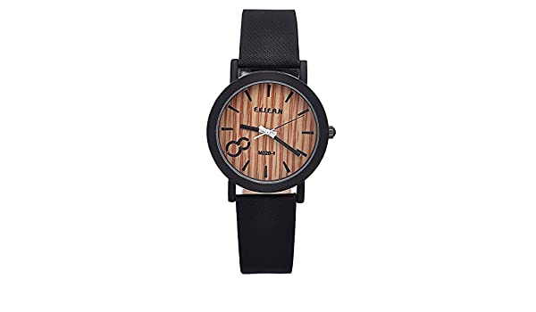 Amazon.com: Simulation Wooden Relojes Quartz Men Watches Casual Wooden Color Leather Strap Watch Wood Male Wristwatch Relogio Masculino (Black): Jewelry