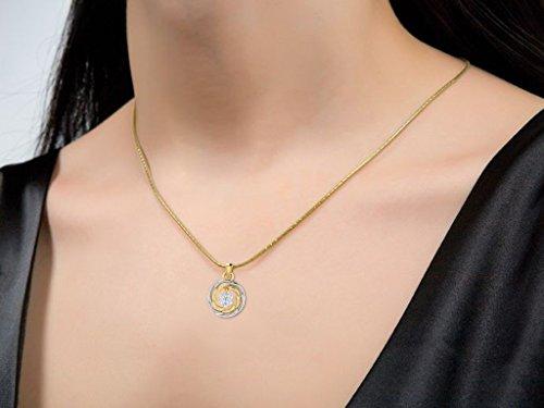 Libertini Pendentif argent 925 plaque or Jaune serti de Diamant en forme de Rond