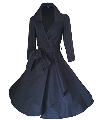 DAROJ-Women-Vintage-V-Neck-34-Sleeve-1950s-Rockabilly-Pinup-Evening-Dress