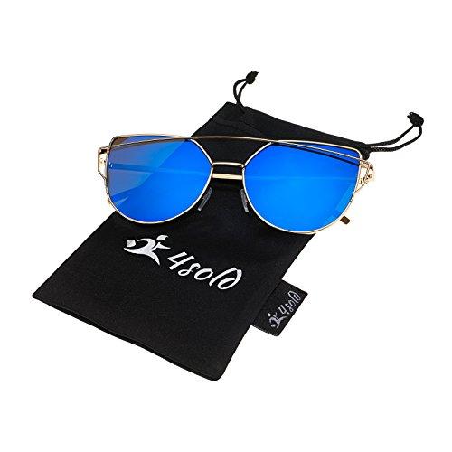 4sold Fashion Uv400 Réfléchissantes Cateye Femmes Et Pour Modernes Lunettes Blue De Soleil 1WnU4pr1HS