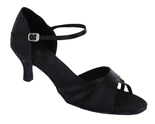 Tda Womens Single Strap Peep Toe Fibbia Salsa Tango Ballroom Latino Moderno Scarpe Da Ballo Da Ballo Nero