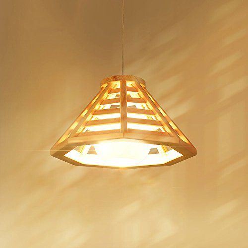 Q-xhc Japanese-style Solid Wood Chandeliers Creative Timber Dining Room Bedroom Ceiling Light Suspended Lamp With White Glass Lampshade Adjustable Hanging Wire Pendant Light Hanging Lamp