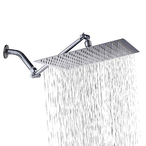 Sarlai  Solid Square Ultra Thin 304 Stainless Steel 12 Inch Adjustable Rain Shower Head with Solid Brass 11 Inch Adjustable (3 Steel Stainless Bit)