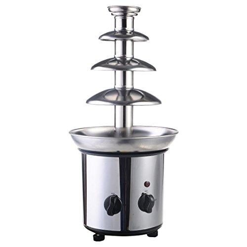 4 Tiers Commercial Stainless Steel Hot New Luxury Chocolate Fondue Fountain - Quickly And Directly Melt Chocolate, Adjustable Stanza Temperature, Heat Stability - Easy To Clean And Easy To Set Up by Unknown