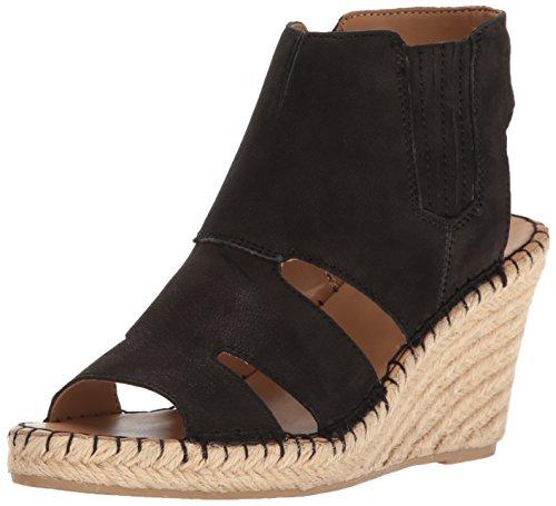 Franco Sarto Women's Nola Espadrille Wedge Sandal, Black, 8 M US (Womens Suede Wedge Sheepskin)