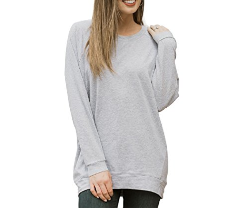 Cool Crew Neck Design Sweatshirts For Women,Grey Oversized Crewneck Spring Sweatshirt Pullover Without Hoodie Long Sleeves For Girls Workout Training Casual Size M (Crew Workout Sweatshirt)