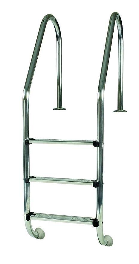 Gre 40110 - Escalera Standard de Acero Inoxidable para Piscina Enterrada, 154 cm
