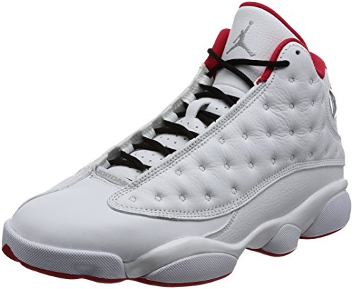 Nike Air Jordan 13 Retro Men's Basketball Shoes White/Metallic Silver/University Red, 9 by Jordan