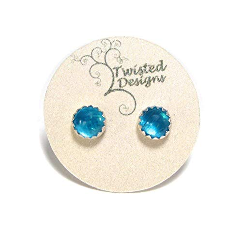- Blue Apatite Stud Earrings in Sterling Silver 5mm