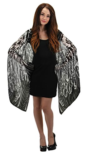 elope Black Feather Wings Lightweight Scarf ()