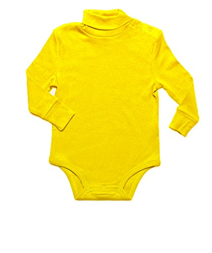 - Leveret Solid Turtleneck Bodysuit 100% Cotton (24 Months, Yellow)