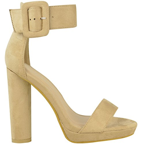 Fashion Thirsty Womens Block High Heels Sandals Ankle Strappy Chunky Platform Shoes Size Nude Faux Suede pGkglccTJo