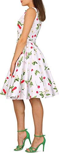 Vintage Joy Dress White Audrey' BlackButterfly 50's Red w0RTq