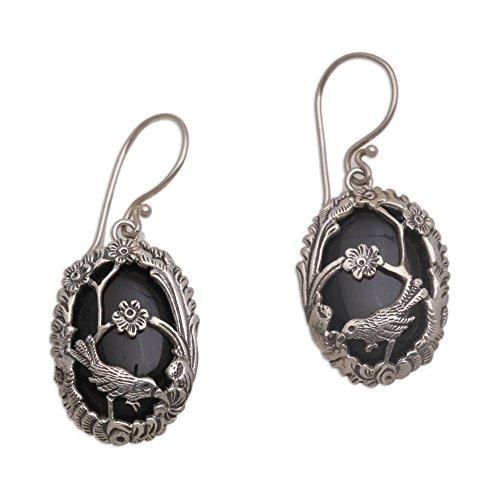 Little Earrings Bird (NOVICA Onyx .925 Sterling Silver Dangle Bird and Flower Earrings 'Curious Bird')