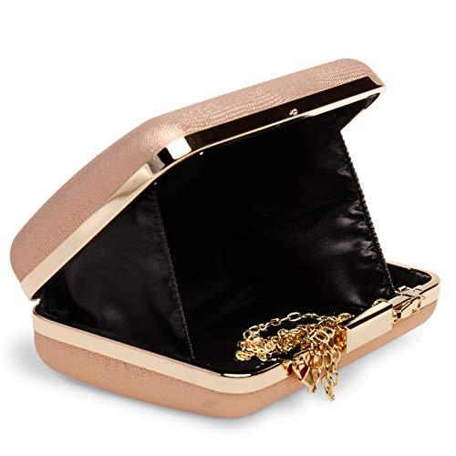 3a9bb71f4 Box Estilo De Estampado Mujer Ta529 Clutch Para Caspar Oro Rosa Piel  Serpiente Y FX4q1wg