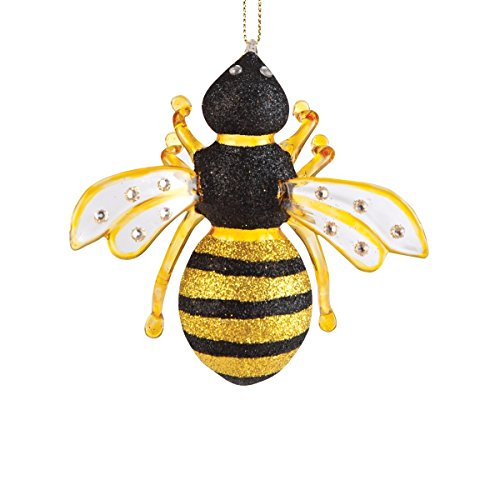 C&F Home Gallerie II Glass Bumble Bee Hives Nest Yellow Black Fuzzy Nectar Flowers Christmas Tree Ornament]()