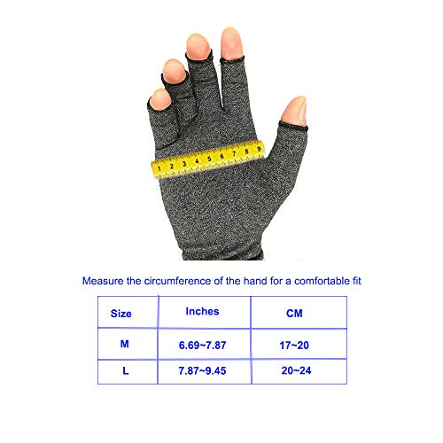 Arthritis Gloves Compression Reynauds Syndrome Fingerless Gloves Carpal Tunnel  Arthritis Relief Neuropathy Rheumatoid & Osteoarthritis Therapeutic Gloves for Women Men L