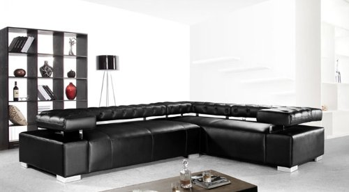 divani casa disco modern leather sectional sofa - Modern Leather Sectional