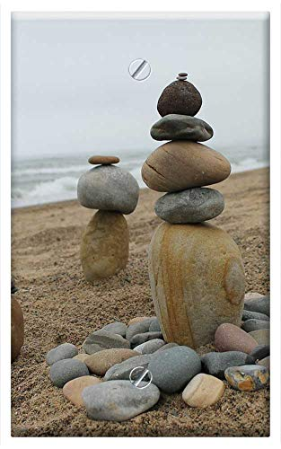 Single-Gang Blank Wall Plate Cover - Balance Cairns Stone Sculpture Stack Rock Pebble