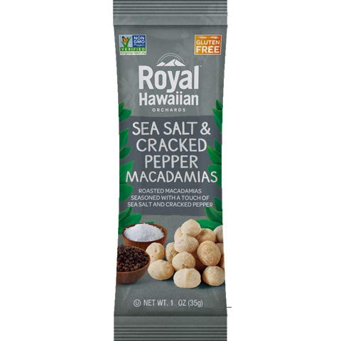 Royal Hawaiian Roasted Macadamia Nuts-Snack Pack (Sea Salt & Cracked Pepper)-12 1-oz Packages-Low Carb, Keto Friendly Snack, and Great for Paleo Diet
