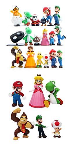 24 Pcs/Set Super Mario Bros Yoshi Dinosaur Mary Princess, Turtle, Mushroom, Orangutan PVC Action Figurine Toy Cake Toppers 2'' -