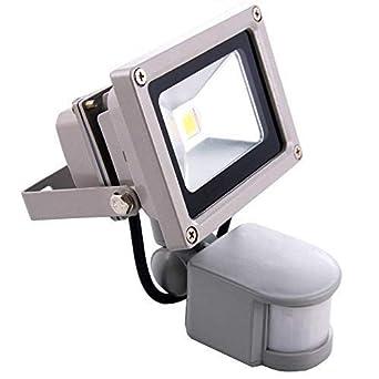 Sourcing4U X1-10w-FL-GR-C-PIR Reflector LED, 10W, con sensor de ...