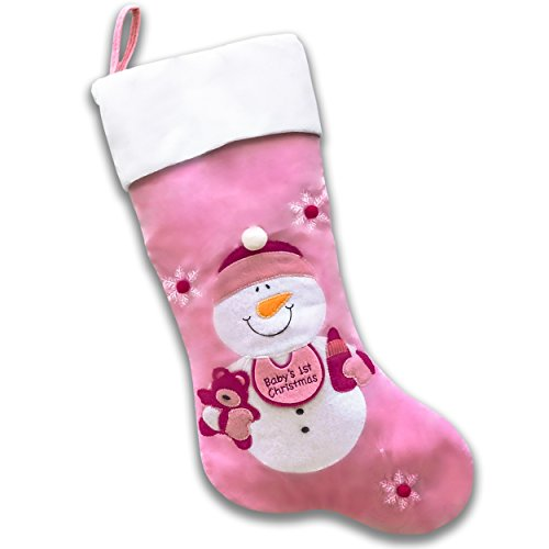 Baby's First Christmas Stocking (Pink Snowman)