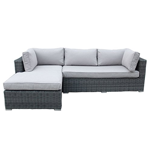 Charles Bentley Garden Deluxe Rattan L-Shape Sofa Showerproof with Removable Cushions