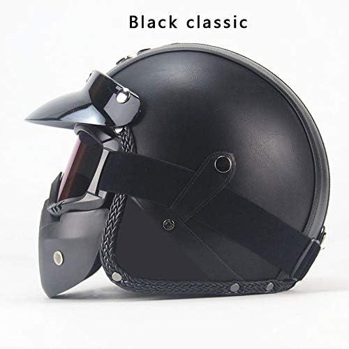 Four Seasonsヴィンテージヘルメット手作りパーソナリティオートバイモーターカー3/4レザーヘルメットハーフヘルメット男性と女性のモデル,B,XL