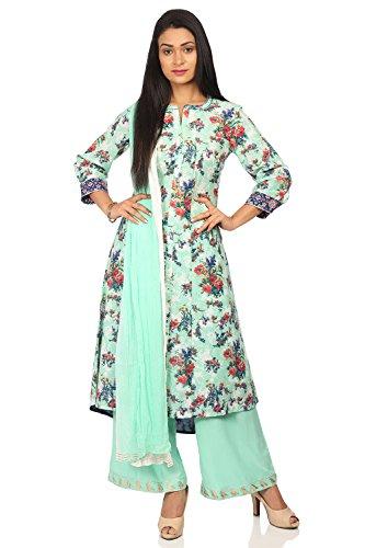 - BIBA Women's Sea Green Cotton Salwar Kameez Dupatta Size 38