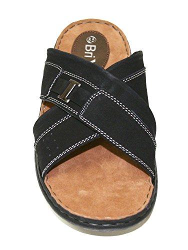 Lycklig Tjur Mens Casual Läder Komfort Fotbädd Fiskare Walking Sandaler Sz 6,5-13 (alaska) (alaska-4) Svart