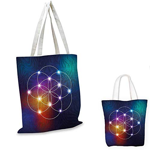 Circle shopping tote bag Digital Overlapping Circles Grid Geometric Centered on Triangles Esoteric Energy Motif small tote shopping bag Indigo. ()