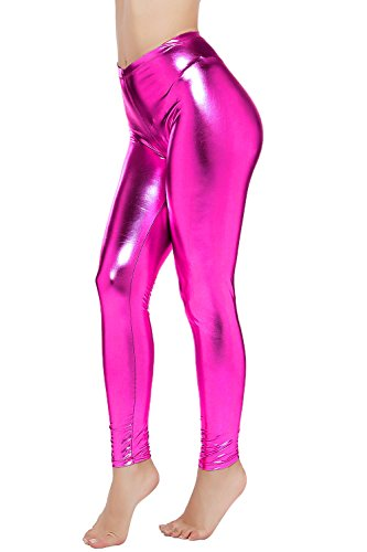 PINKPHOENIXFLY Womens Sexy Shiny Faux Leather Leggings Pants (S, Rose) -