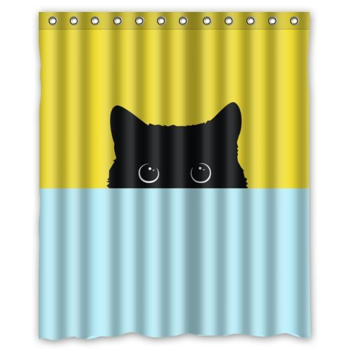 """60""""(w) x 72""""(h) Funny Cat Kitty Pattern Bathroom Shower Curtain Shower Rings Included, 100% Polyester"""
