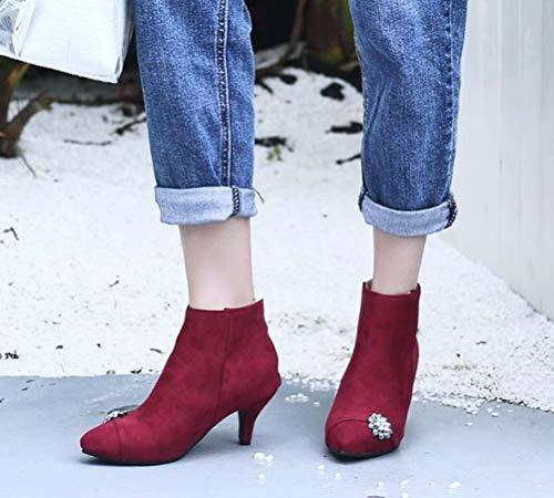 Tira Mujer Tobillo de Ante 43 Rojo Color de Talla HiTime dXEwqd