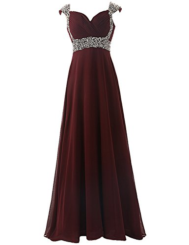Sarahbridal Women's Long Chiffon Bridesmaid Dress Cap Sleeves Beaded Prom Evening Gown Burgundy US20 Chiffon Sweetheart Neckline Column