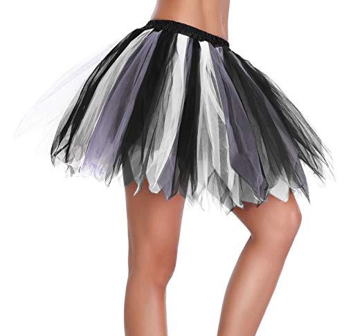 v28 Women's Teen's 1950s Vintage Tutu Tulle Petticoat Ballet Bubble Skirt (Regular Size (US: 0-12), Black+White+Purple) for $<!--$12.99-->