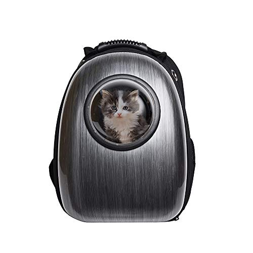 BOSON Pet Cat Dog Carrier Backpack Traveler Bubble Space Capsule Travel Bag Breathable Tote for Kitten Doogie Puppy (black-0101)