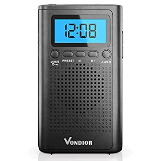 Portable Digital Radio AM FM - Best Reception and Longest Lasting. AM FM Compact Radio Player Operated by 2 AAA Battery, Stereo Headphone Pocket (Black, Blue), by Vondior