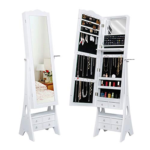 - LED Mirrored Jewelry Cabinet Organizer, Full Length Standing Jewelry Storage Armoire with Makeup Tray&Large Capacity 6 Drawers &3 Adjustable Angle and Hair Dryer Storage (White)