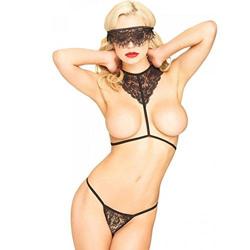 - Oh la la Cheri Women's Plus Size Open Cup, Crotchless Functional Tie Teddy, Black, Queen