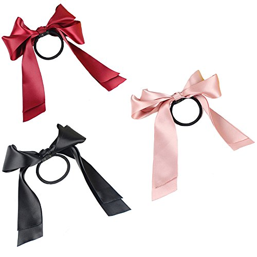 Polytree 3pcs Women's Fashion Satin Ribbon Bow Hair Band Rope Ponytail Holder - Hair Ribbon
