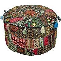 Rajasthali Bohemian Patch Work Ottoman Cover,Traditional Vintage Indian Pouf Floor/Foot Stool, Christmas Decorative Chair Cover,100% Cotton Art Decor Cushion, 14x22. Only Cover, Filler not Included