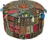 Rajasthali'' Bohemian Patch Work Ottoman Cover,Traditional Vintage Indian Pouf Floor/Foot Stool, Christmas Decorative Chair Cover,100% Cotton Art Decor Cushion, 14x22'. Only Cover, Filler not Included