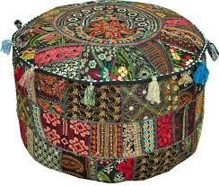 Bohemian Patch Work Ottoman Cover,Traditional Vintage Indian Pouf Floor/Foot Stool, Christmas Decorative Chair Cover,100% Cotton Art Decor Cushion, 14x22'. Only Cover, Filler not Included by Alwish India