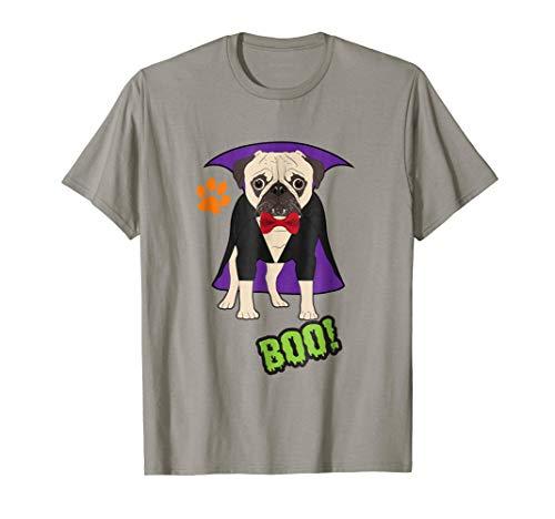 Halloween Pug T-Shirt Cute Pug Dog in Vampire Costume Shirt